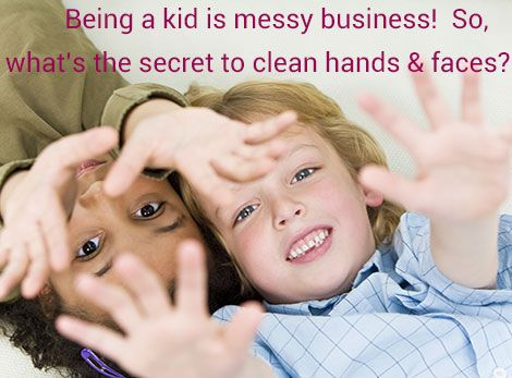 Cleaning up messy hands and faces.... Mucky Kids wet wipes to the rescue!